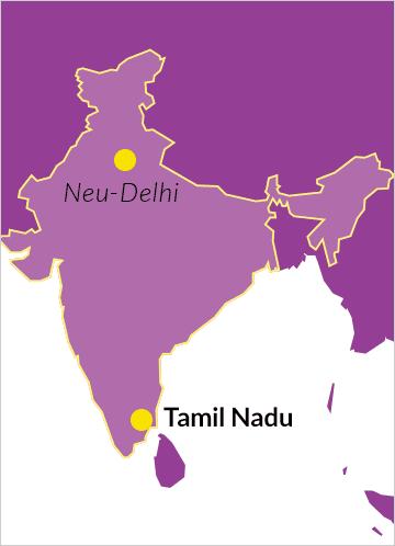 Karte von Indien mit Hinweis auf Tamil Nadu