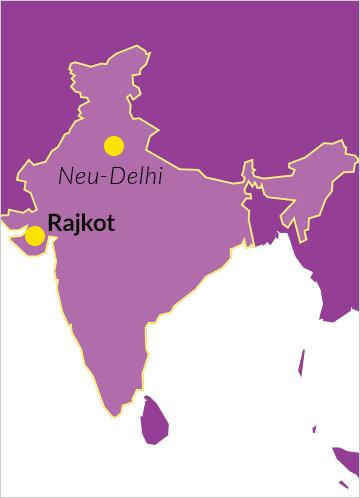 Karte von Indien mit dem Ort Rajkot im Bundesstaat Gujarat sowie der Hauptstadt Neu-Delhi