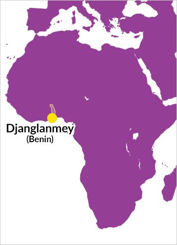 Karte von Afrika mit Hinweis auf Djanglanmey (Benin)