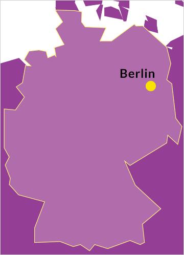 Landkarte von Deutschland mit Verweis auf die Hauptstadt Berlin