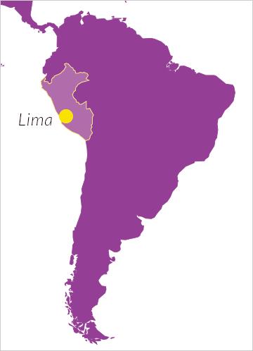 Karte von Südamerika mit Hinweis auf Peru