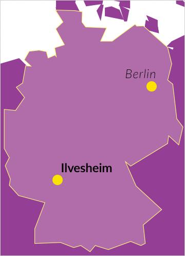 Landkarte von Deutschland mit Verweis auf Ilvesheim