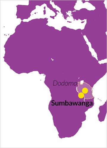 Karte von Afrika mit Verweis auf Sumbawanga in Tansania
