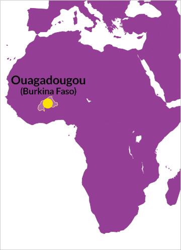 Karte von Afrika mit Verweis auf Ouagadougou in Burkina Faso