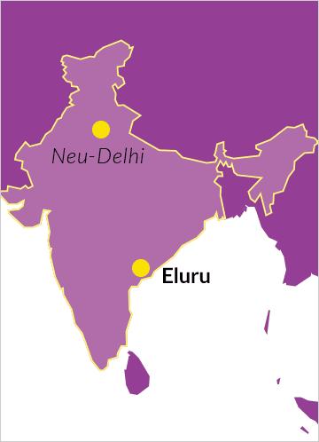 Landkarte von Indien mit Hinweis auf Eluru im Bundesstaat Andhra Pradesh sowie die Hauptstadt Neu-Delhi