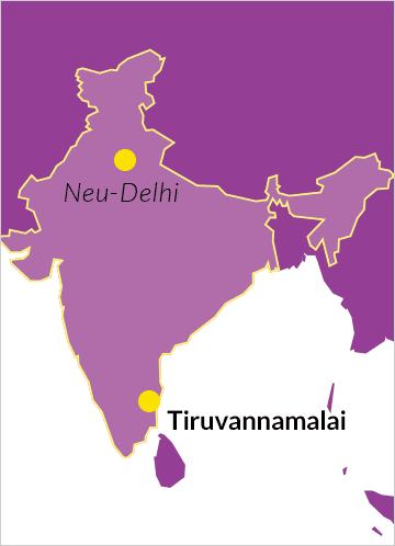 Landkarte von Indien mit Hinweis auf Tiruvannamalai im Bundesstaat Tamil Nadu sowie die Hauptstadt Neu-Delhi