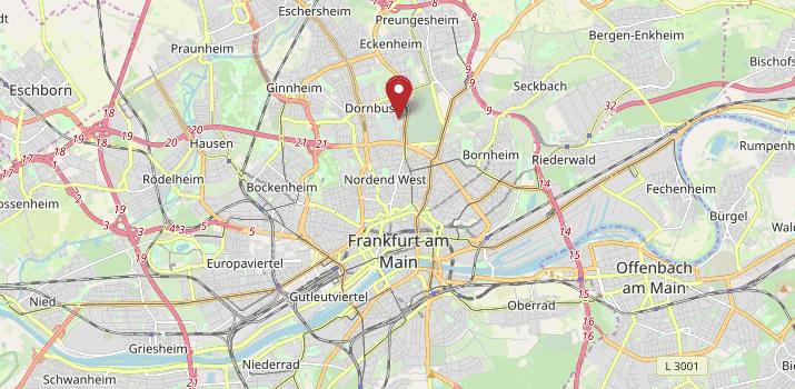 Karte von Frankfurt mit Verweis auf die Adresse des Regionalwerks