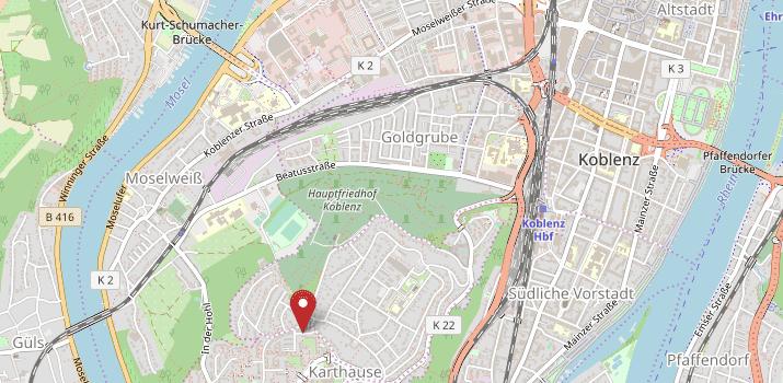 Karte von Koblenz mit Verweis auf die Adresse des Regionalwerks