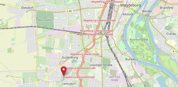 Karte von Magdeburg mit Verweis auf die Adresse des Regionalwerks
