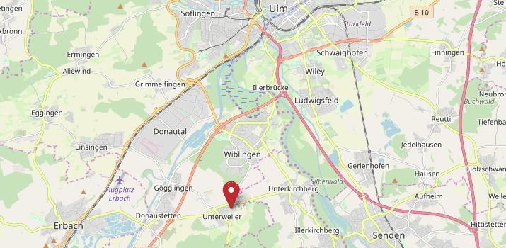 Karte von Ulm mit Verweis auf die Adresse des Regionalwerks