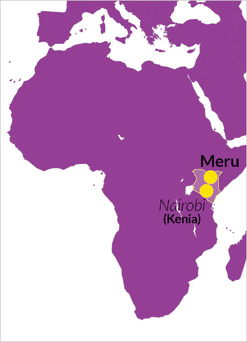 Landkarte von Afrika mit Hinweis auf das County Meru in Kenia