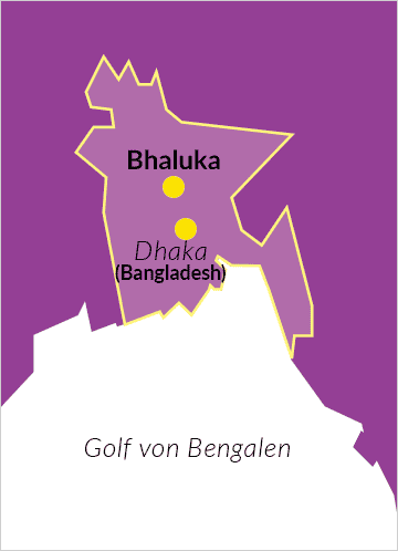 Karte von Bangladesch mit Verweis auf die Hauptstadt Dhaka und Bhaluka