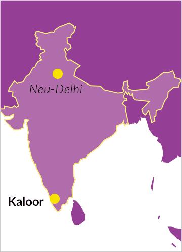 Landkarte von Indien mit Hinweis auf die Stadt Kaloor