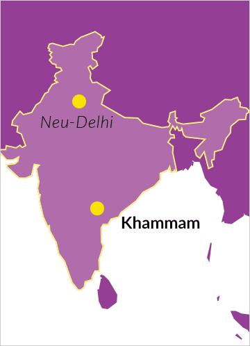 Landkarte von Indien mit Hinweis auf die Diözese von Khammam, Andhra Pradesh