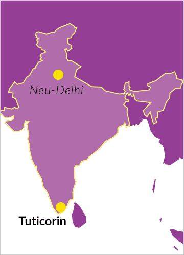 Landkarte von Indien mit Hinweis auf die Diözese von Tuticorin