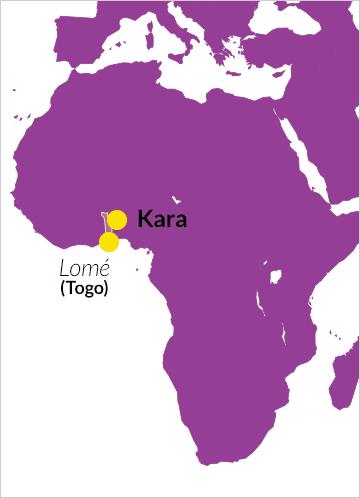 Lage von Togo auf einer Karte von Afrika, mit Verweis auf die Stadt Kara
