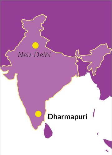 Karte von Indien mit dem Ort Dharmapuri im Bundesstaat Tamil Nadu sowie der Hauptstadt Neu-Delhi