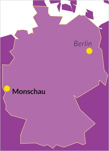 Landkarte von Deutschland mit Verweis auf Monschau in der Eifel