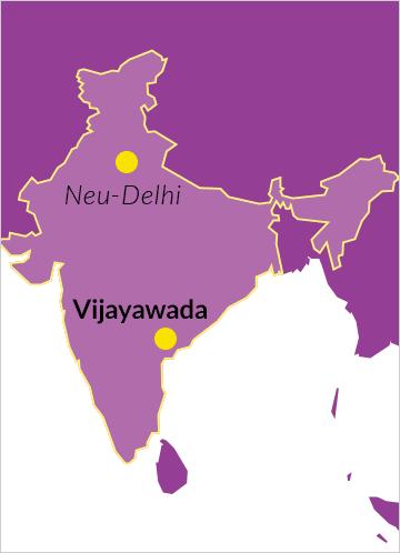 Landkarte von Indien mit dem Ort Vijayawada im Bundesstaat Andhra Pradesh sowie der Hauptstadt Neu-Delhi