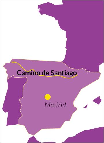 Landkarte von Spanien mit Hinweis auf den Camino de Santiago