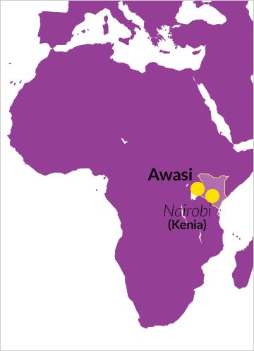 Landkarte von Afrika mit Hinweis auf Awasi in Kenia
