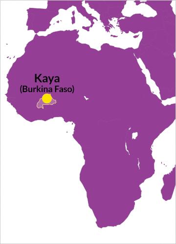 Karte von Afrika mit Verweis auf Kaya in Burkina Faso