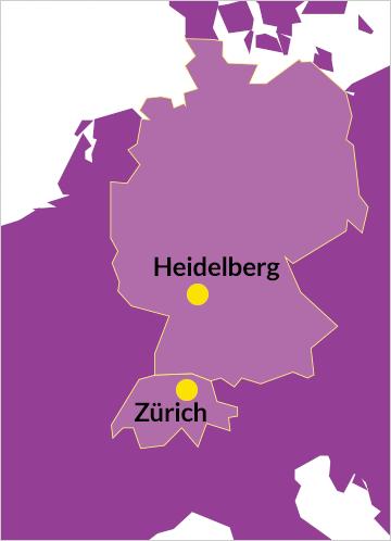 Deutschland und Schweiz; Heidelberg und Zürich hervorgehoben