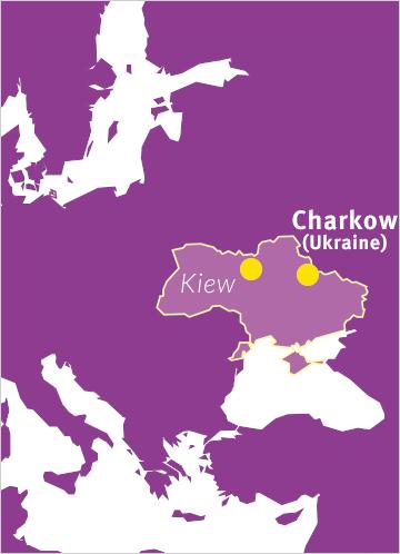Karte von Osteuropa mit Verweis auf Charkow in der Ukraine