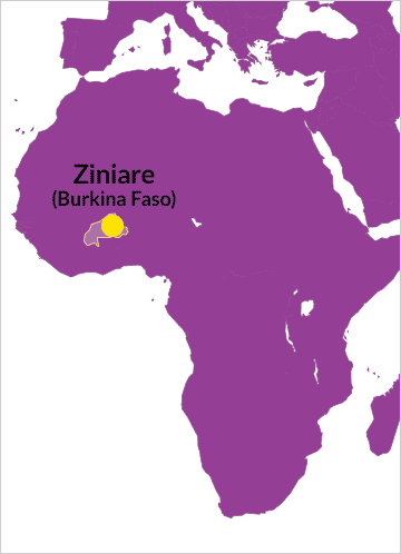 Karte von Afrika mit Verweis auf Ziniare in Burkina Faso