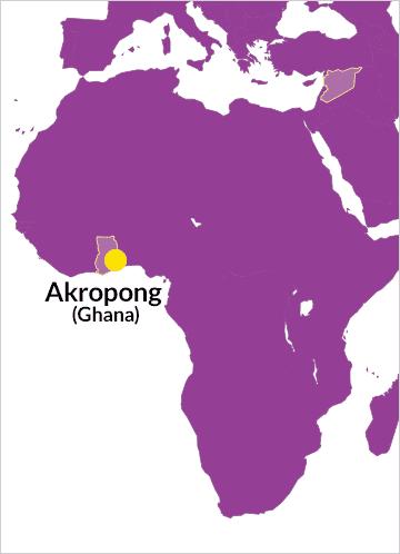 Landkarte von Afrika mit Hinweis auf Akropong in Ghana
