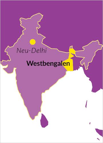 Landkarte von Indien mit Hinweis auf Westbengalen sowie die Hauptstadt Neu-Delhi