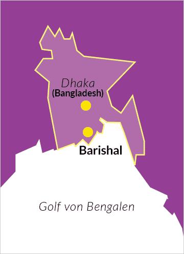 Karte von Bangladesch mit Verweis auf die Hauptstadt Dhaka und denn Distrikt Barishal