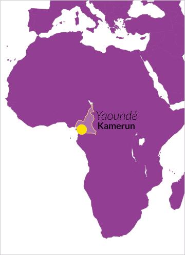 Karte von Afrika mit Verweis auf Yaoundé, Hauptstadt von Kamerun
