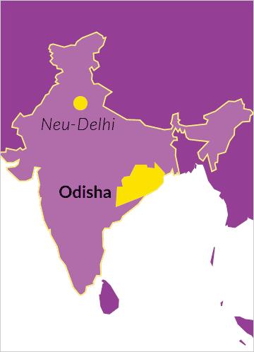 Karte von Indien mit Verweis auf den Bundesstaat Odisha sowie der Hauptstadt Neu-Delhi