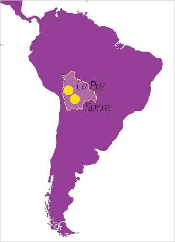 Karte von Bolivien (Südamerika) mit Verweis auf die Hauptstadt Sucre und den Regierungssitz La Paz