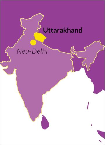 Karte von Indien mit Verweis auf den Bundesstaat Uttarakhand sowie der Hauptstadt Neu-Delhi