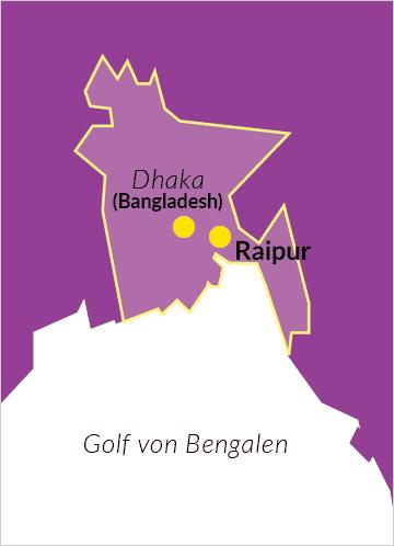 Karte von Bangladesch mit Verweis auf die Hauptstadt Dhaka und Raipur