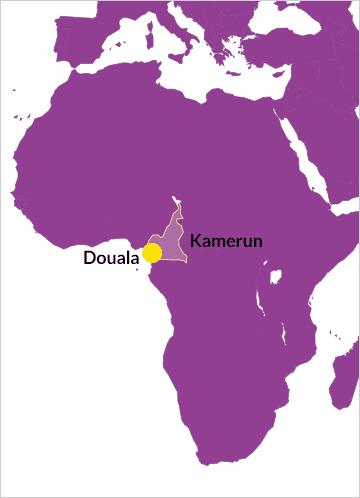 Karte von Kamerun (Afrika) mit Verweis auf die Stadt Douala