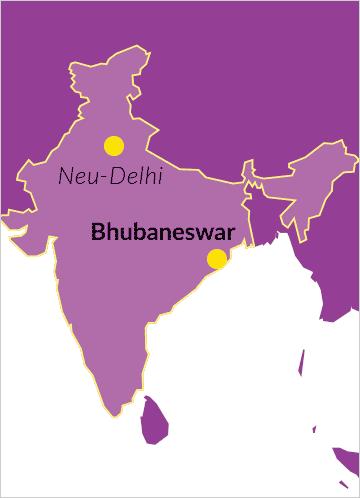 Karte von Indien mit Verweis auf Bhubaneswar sowie die Hauptstadt Neu-Delhi